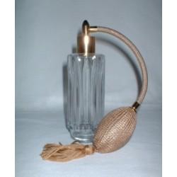 """Flacon vaporisateur à poire en verre blanc et poire """"or"""""""