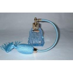 Flacon vaporisateur verre de bohème Bleu avec diffuseur à poire