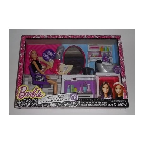 Coffret salon de coiffure barbie fauteuil barbier for Salon de coiffure barbie