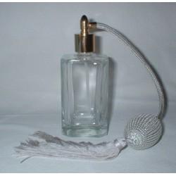 Flacon vaporisateur en verre blanc poire argent