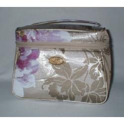 Vanity Case décor or et fleurs violettes petit modèle