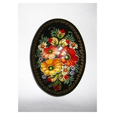 Broche Laque décor fleurs