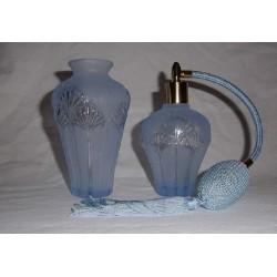 Flacon vaporisateur bleu décor palmier