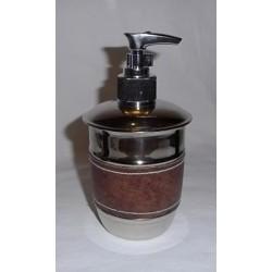 """Distributeur de savon liquide chromé décor """"facon cuir"""""""
