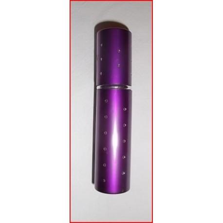Flacon diffuseur de sac violet métallisé et décoré de strass