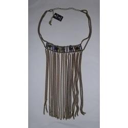 Collier chaines avec pierres Swarovski