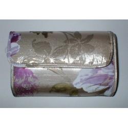 Trousse toilette décor or et fleurs violettes petit modèle