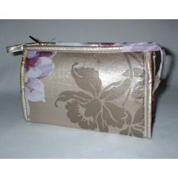 Trousse de toilette décor or et fleurs violettes petit modèle