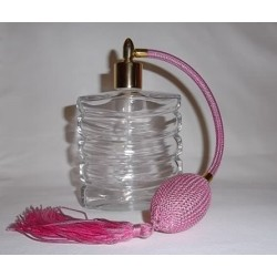 Flacon vaporisateur à poire en verre blanc et poire rose